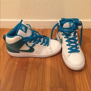 Teal and White Nike high-top sneakers